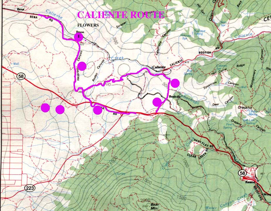 Caliente Route Map